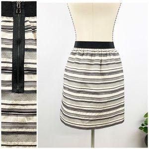Ann Taylor Loft Silk A-line Stripe Black  White